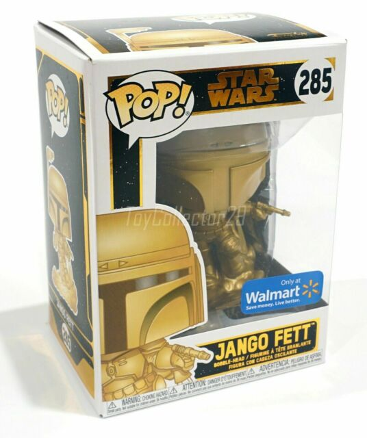 Funko Gold Metallic Jango Fett 285 Star Wars Mandalorian Walmart Exclusive POP