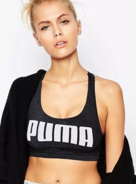 New Womens Puma YOGINI Large Logo Crop Top Sport Bra Dry Cell Black XXL UK  18 3c565f788
