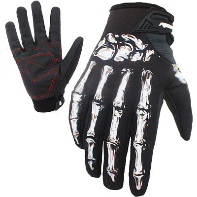 Touch Screen Tactical Full Finger Skull Bone Gloves Mens Motorcycle Cycling Bike