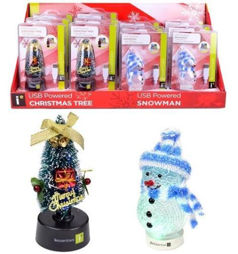 iEssentials USB Powered Snowman Christmas Tree multi color changing LED lights