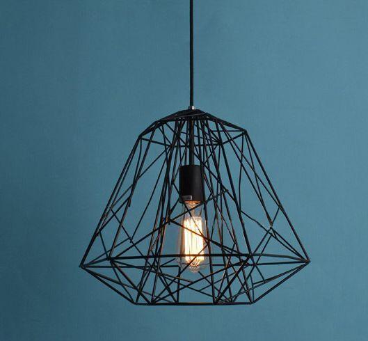 Modern Design Industrial DIY Metal Ceiling Lamp Light Pendant Edison Bulb Black