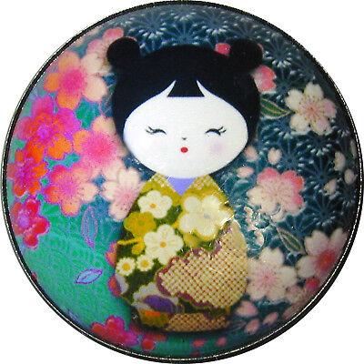 "Japanese Kokeshi Doll Crystal Dome Button 1 /& 3//8/"" KD20 FREE US SHIPPING"