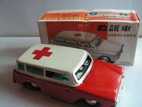 MF 732 TIN TOY AMBULANCE JOUET TOLE VINTAGE 60/70 ANCIE