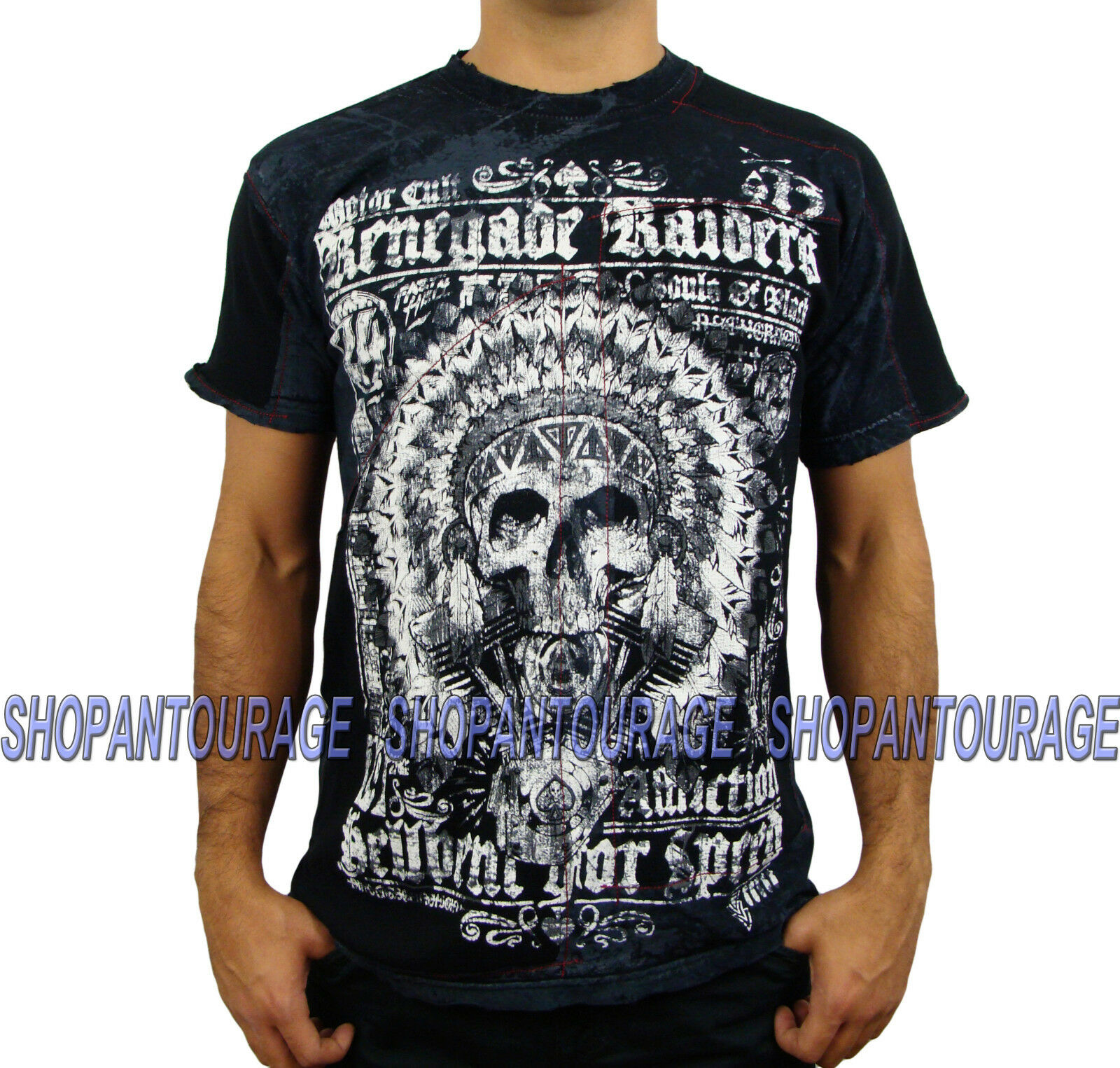 Affliction Renegade Riders A11550 Men`s New Fashion Skull MMA Graphic T-shirt