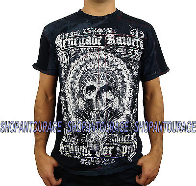 AFFLICTION Renegade Riders A11550 Men`s New Black T-shirt