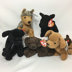 6aa76a016d5 5 Ty Beanie Babies Dogs Fetcher Luke Sarge Scottie Tuffy PE and PVC ...