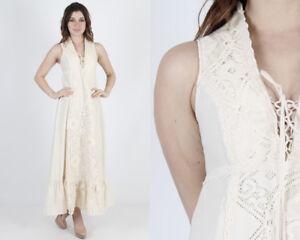 Vtg-70s-Gunne-Sax-Dress-Ivory-Crochet-Lace-Boho-Wedding-Long-Prairie-Corset-Maxi