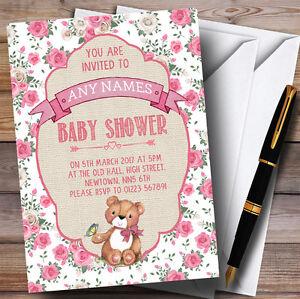 Pink Roses Girls Teddy Bear Picnic Invitations Baby Shower