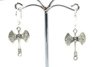 Doppelaxt-Ohrringe-Modeschmuck-Axt-Ohrhaenger-mit-Brisuren-oder-Haken-Neu