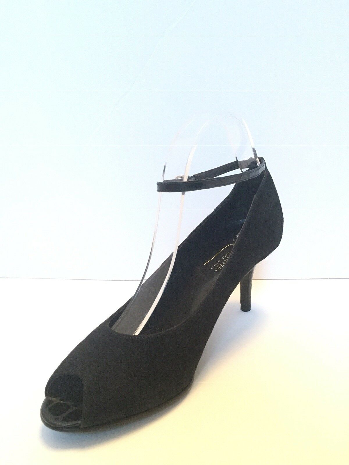 DONALD J.PLINER COUTURE COUTURE COUTURE SUEDE & LEATHER OPEN TOE PUMP SZ 9.5 ITALY 95a227