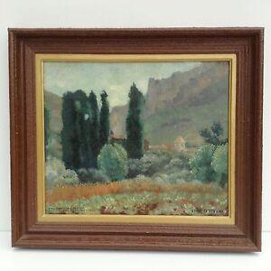 Das Bild Wird Geladen Le Rozier Frankreich Gemaelde Mediterrane Landschaft  Maler Olgemaelde