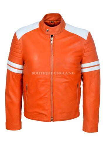 /'MAYHEM/' Men/'s ORANGE With WHITE Stripe Biker Style Fight Club Leather Jacket