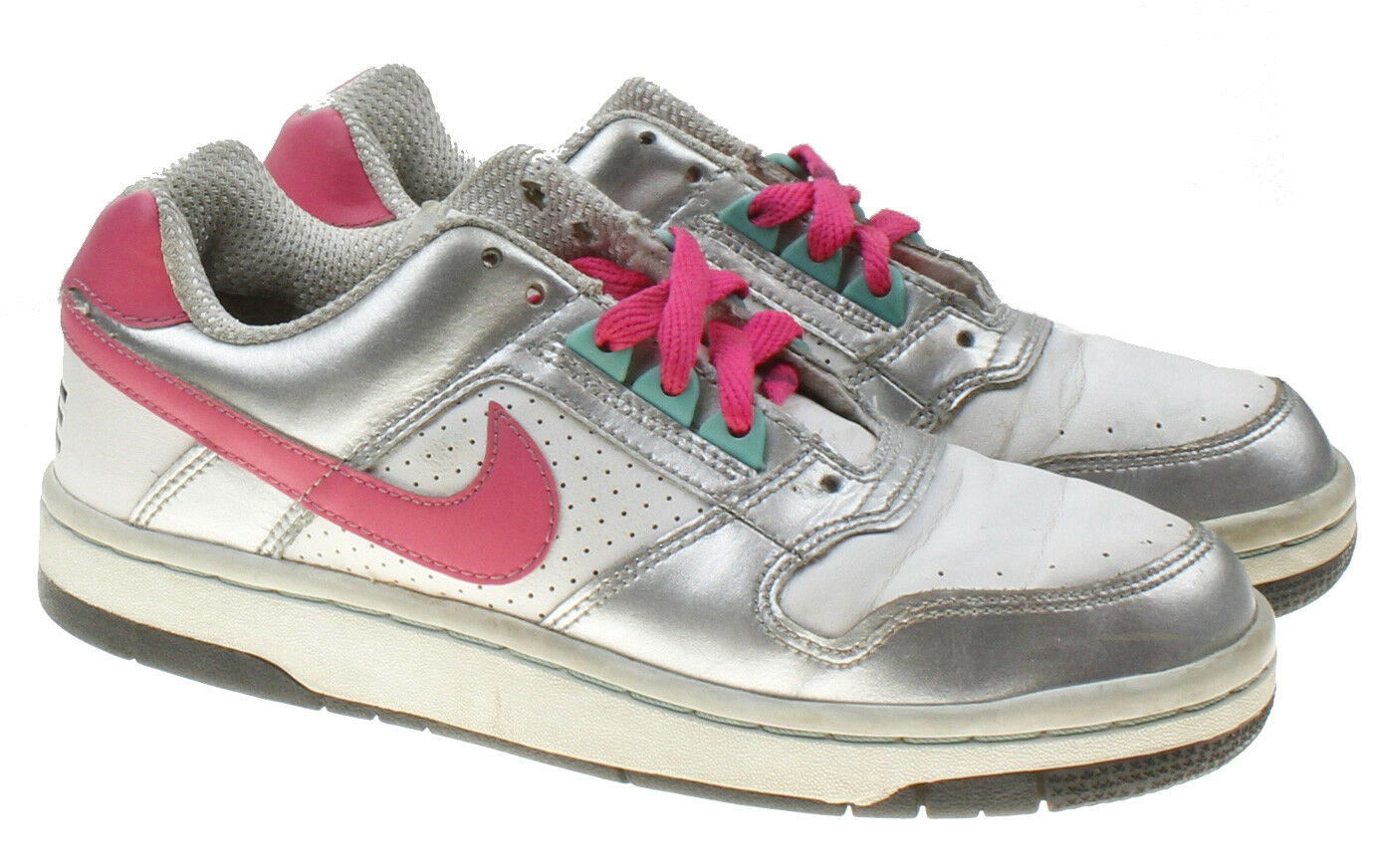 Nike Dunk Low GS – White/Metallic Silver Pink VTG Kids 4.5Y Womens 6 Sneakers
