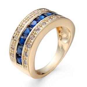 Blue-CZ-Princess-Cut-Band-14kt-Yellow-Gold-Filled-Wedding-Jewelry-Ring-Size-6-10
