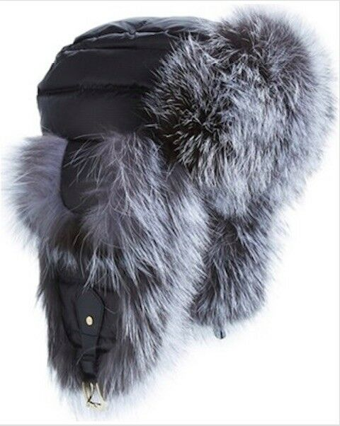 4c575438b58 Buy Tasha Tarno Black silver Nylon   Genuine Fox Fur Trapper Women Hat  online