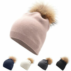 Womens Winter Cashmere Beanie Hat Wool Knitted Fur Pom Pom Ski Cap ... a5e4dc1277