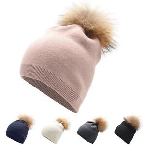 c4a7789c02f Womens Winter Cashmere Beanie Hat Wool Knitted Fur Pom Pom Ski Cap ...