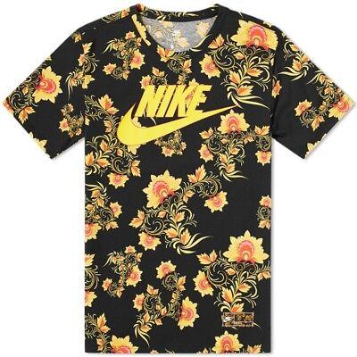 Nike Floral T Shirt Noir et Jaune Taille S RARE!!! | eBay