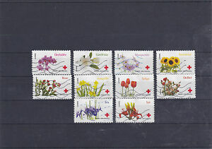 France 2014 red cross flowers serie complete of 10 stamps cancelled