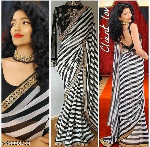 Indian Traditional Saree Black Border WORKS Striped Design Silk With Blouse