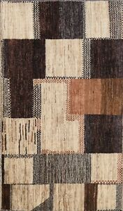 Modern Checkered Gabbeh Kashkoli Oriental Area Rug Wool Hand-knotted 3x5 Carpet