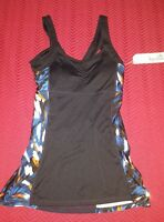$48 Women's Kyodan Black & Blue Print Ruched Athletic Tank Top W/shelf Bra
