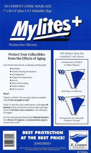 "1.42 mil current size 7/"" x 10-1//2/"" plus 1-1//2/"" flap E.Gerber Mylites 50 Pack"