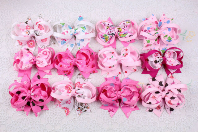 "Disney 12pc 3"" Girl baby toddler Boutique Hair Bows Alligator Clips ribbon D3"
