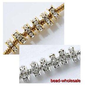 20pcs 10mm Silber Golden Loch Kristall Spacer Perlen Selber Machen