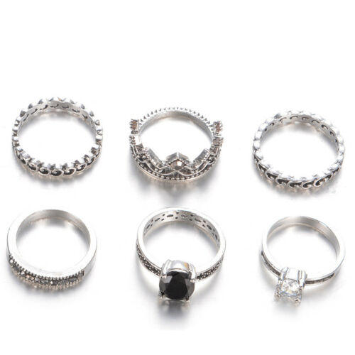 6Pcs Lady Vintage Bohemian Black Gemstone Love Heart Shape Ring Jewelry Gift N7