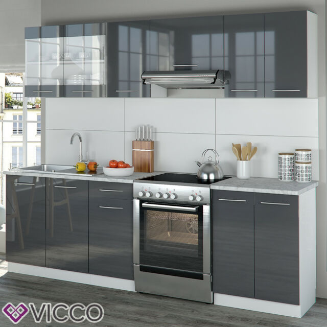 Fantastisch Vicco Küche Raul Küchenzeile Küchenblock Einbauküche 240 Cm Anthrazit  Hochglanz
