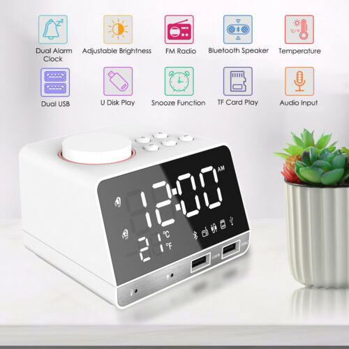 LED Wireless Bluetooth Speaker Alarm Clock FM Radio with Dual USB Charging Port