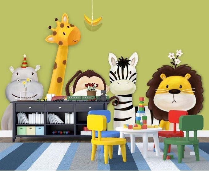 3D Fünf nette Tiere 244 Fototapeten Wandbild Fototapete BildTapete Familie