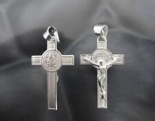 925 Sterling Silver Cross Crucifix Pendant 1.4 inch with St Benedict San Benito