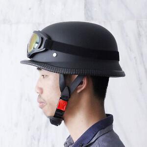 German Motorcycle Half Helmet Skull Cap Goggle Glasses ...