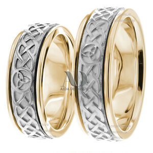 Image Is Loading Celtic Trinity Knot Matching Wedding Ring Set 7mm