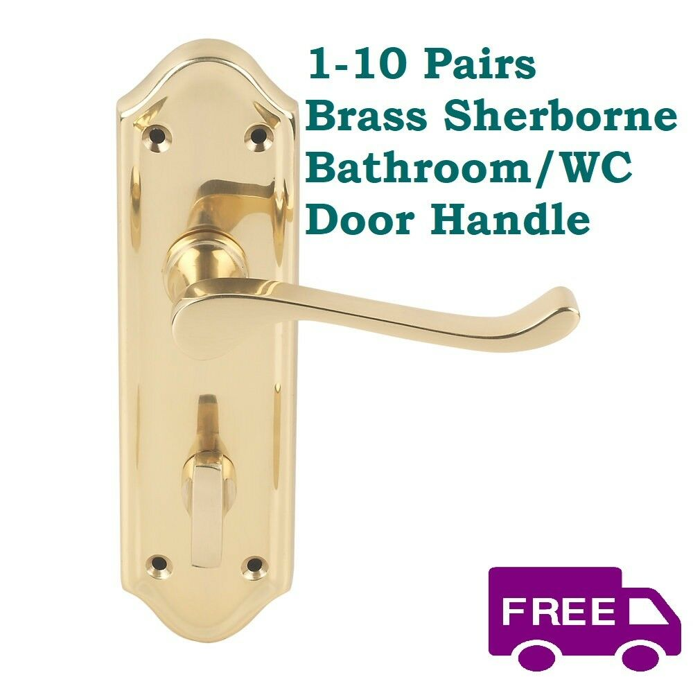 1-10 Sets Sherborne Brass Interior Door Bath WC Handles FAST & FREE DELIVERY D1