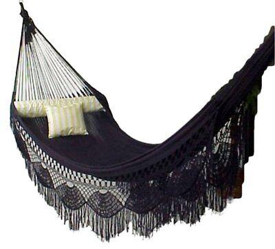 Hammock Cotton Crochet Fringe Beige White Hanging Chair Single Double Patio