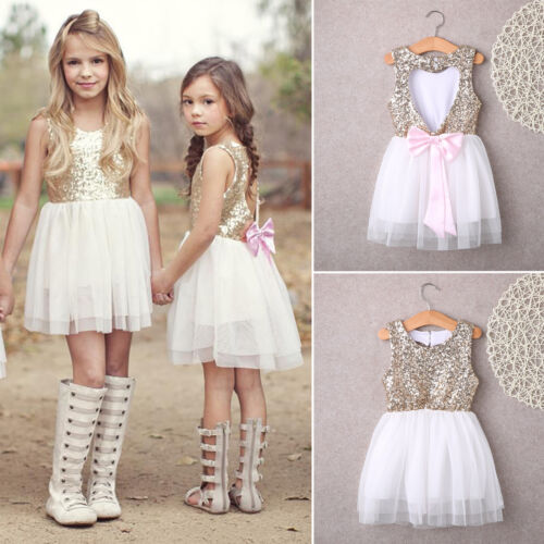 Toddler Baby Girls Sequin Sleeveless Lace Tutu Party Wedding Tulle Dress Clothes