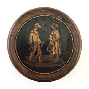 Antique-Italian-Sorrento-Ware-Marquetry-Inlaid-Treen-Wood-Patch-Snuff-Box-C-1900