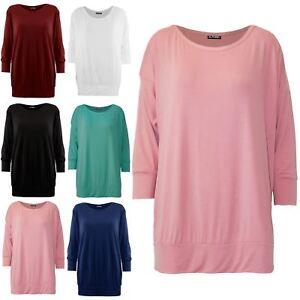 Mujer-senoras-Liso-Cuello-Redondo-3-4-Manga-con-manguito-Holgado-Camiseta-Camiseta-Top-de-gran