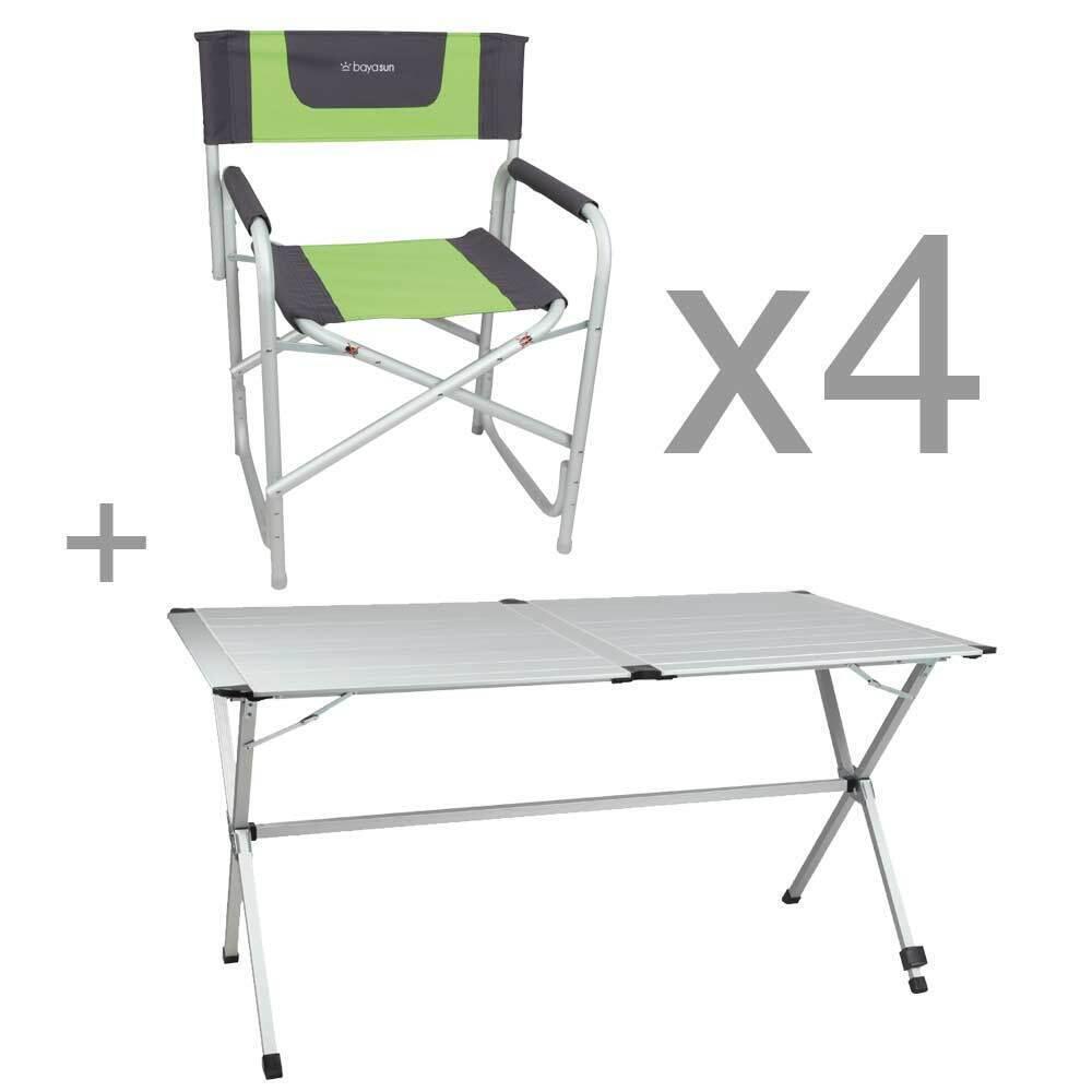 Pack Camping Tisch Gapless 6 Pers. + 4 Klappsessel Alu Director's Grün & Grau