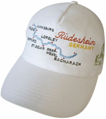 BASEBALLCAP CAP BERRETTO muetze BIANCO con stick ruedesheim GERMANY Loreley 68028
