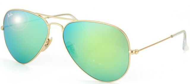 Ray Ban RB 3025 Metal Aviator 112/19 Matte Gold Sunglasses Green Mirror 55m Lens