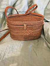 HANDMADE ATA BAG WITH LEATHER STRAP FULLY LINED (Purple lining)