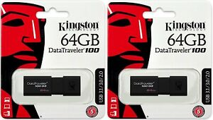 Lot of 5 x 64GB Kingston DataTraveler 100 G3 USB 3.0 Flash Drive DT100G3//64GB