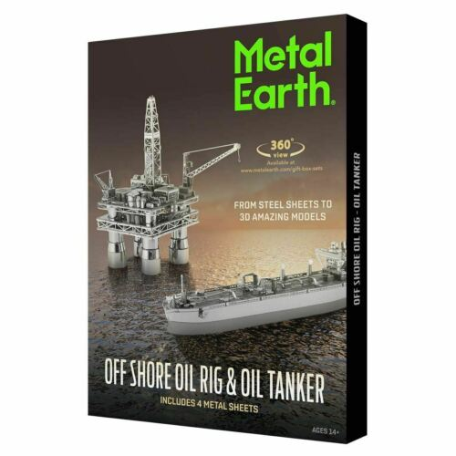 Metal Earth Modellino Offshore Oil Rig and Tanker  3D Model Kit FASCINATIONS