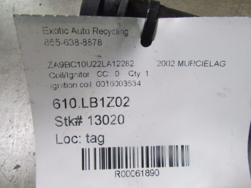 Lamborghini Murcielago Coupe Ignition Coil Used P//N 0016003534