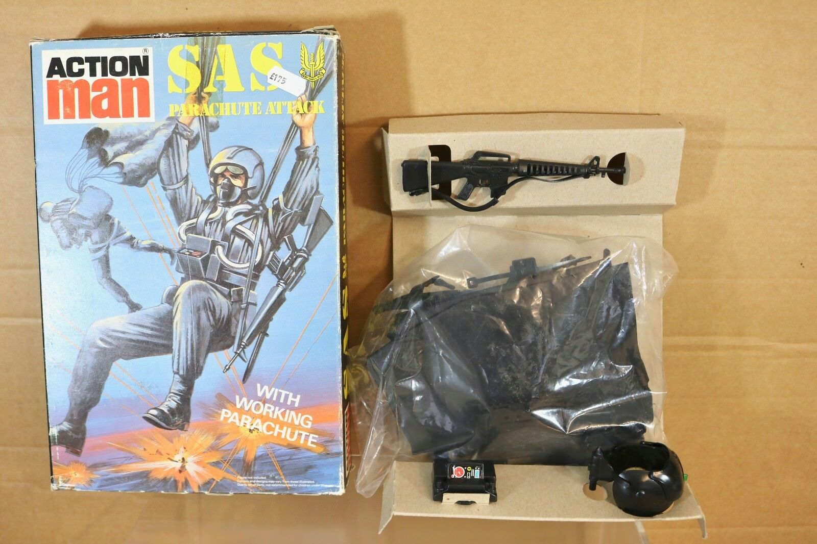 Palitoy ACTION MAN MAN MAN SAS Paracadute ATTACCO CON LAVoro SACCO del paracadute in scatola NN d4e5f7