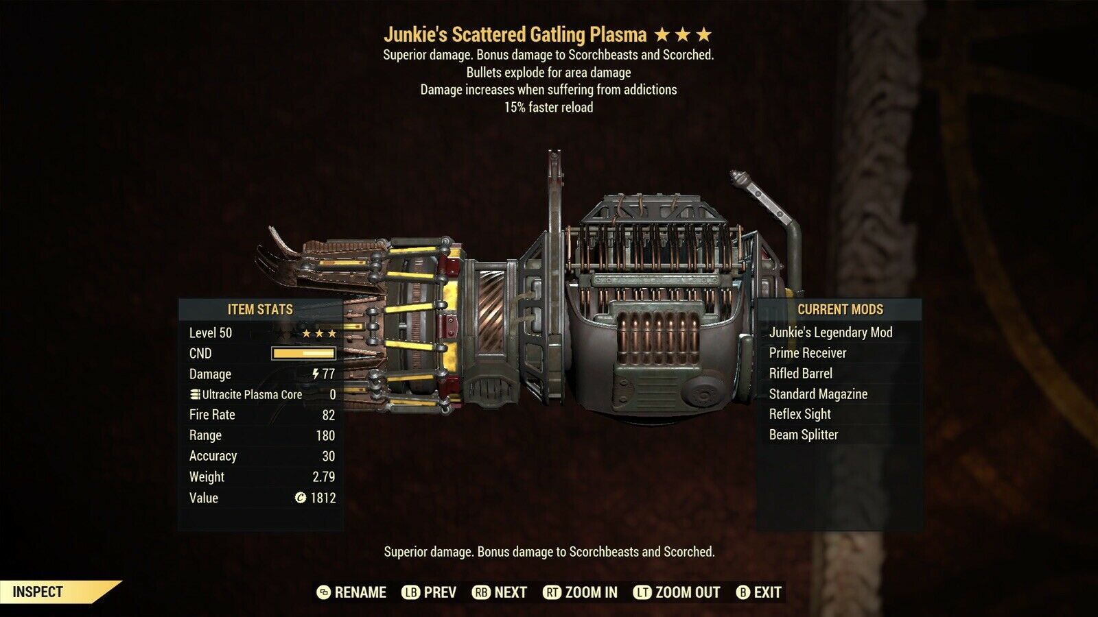 Junkies Explosive Gatling Plasma 15% Faster Fire Reload fallout 76 xbox one